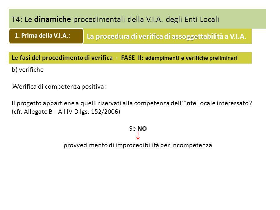 T4: Le dinamiche procedimentali della V.I.A. degli Enti Locali Le fasi del procedimento di verifica - FASE II: adempimenti e verifiche preliminari b)