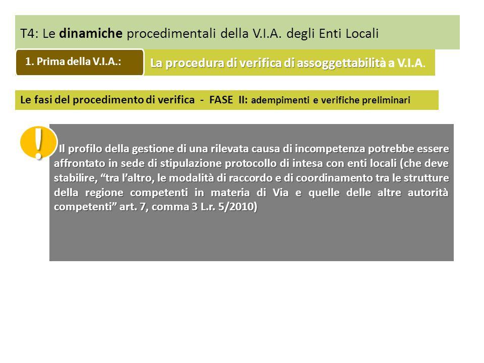 T4: Le dinamiche procedimentali della V.I.A. degli Enti Locali Le fasi del procedimento di verifica - FASE II: adempimenti e verifiche preliminari Il