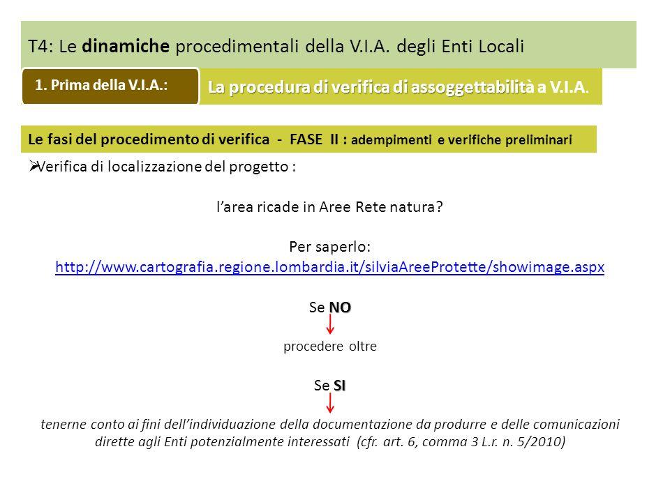 T4: Le dinamiche procedimentali della V.I.A. degli Enti Locali Le fasi del procedimento di verifica - FASE II : adempimenti e verifiche preliminari Ve