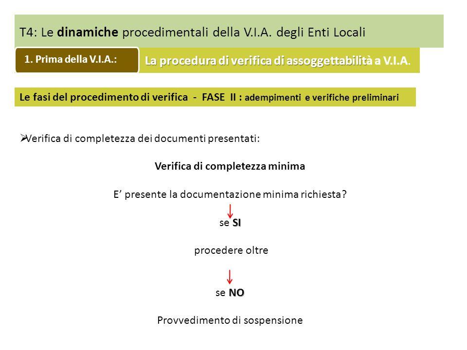 T4: Le dinamiche procedimentali della V.I.A. degli Enti Locali Verifica di completezza dei documenti presentati: Verifica di completezza minima E pres