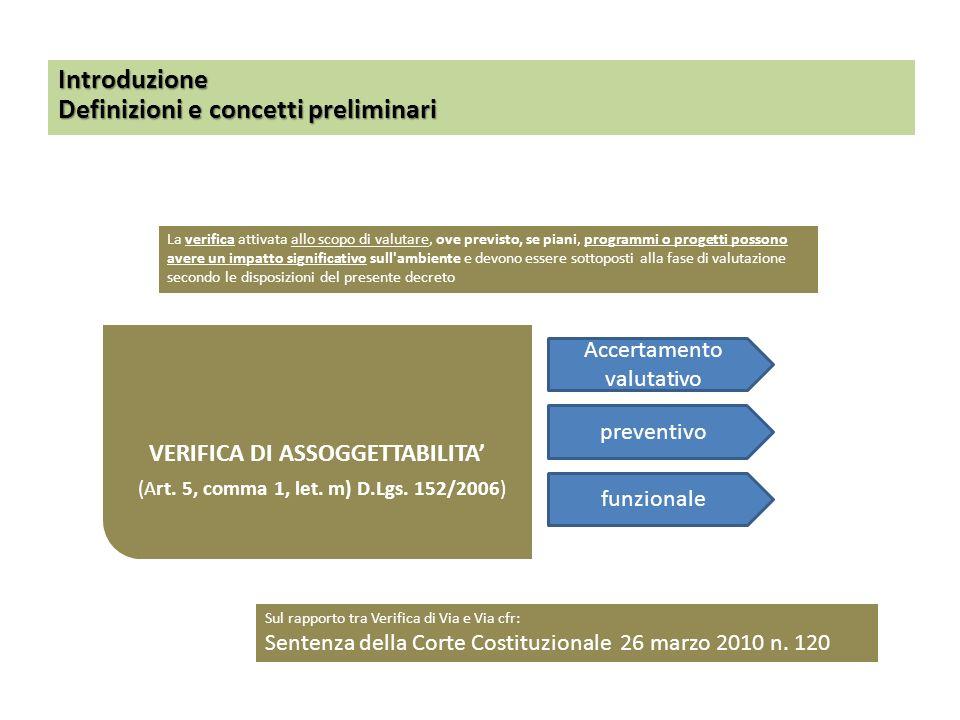 VERIFICA DI ASSOGGETTABILITA (Art. 5, comma 1, let. m) D.Lgs. 152/2006) Introduzione Definizioni e concetti preliminari La verifica attivata allo scop