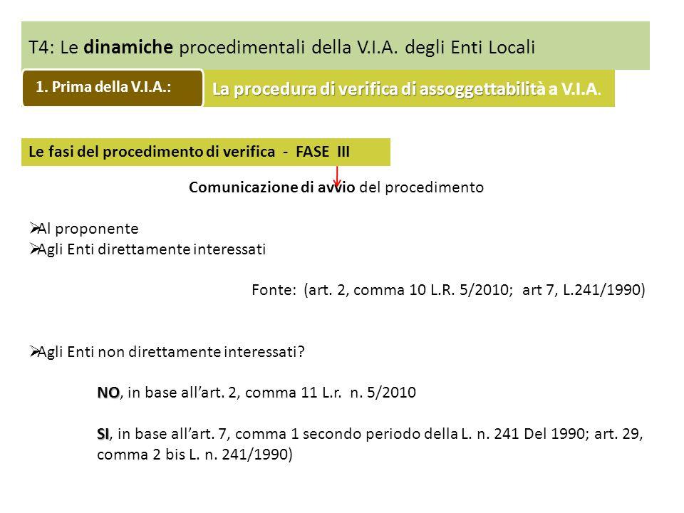 T4: Le dinamiche procedimentali della V.I.A. degli Enti Locali Le fasi del procedimento di verifica - FASE III Comunicazione di avvio del procedimento