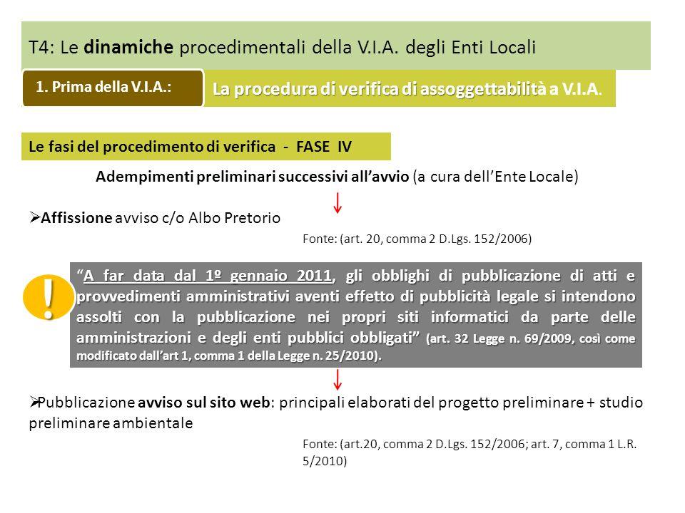T4: Le dinamiche procedimentali della V.I.A. degli Enti Locali Le fasi del procedimento di verifica - FASE IV Adempimenti preliminari successivi allav