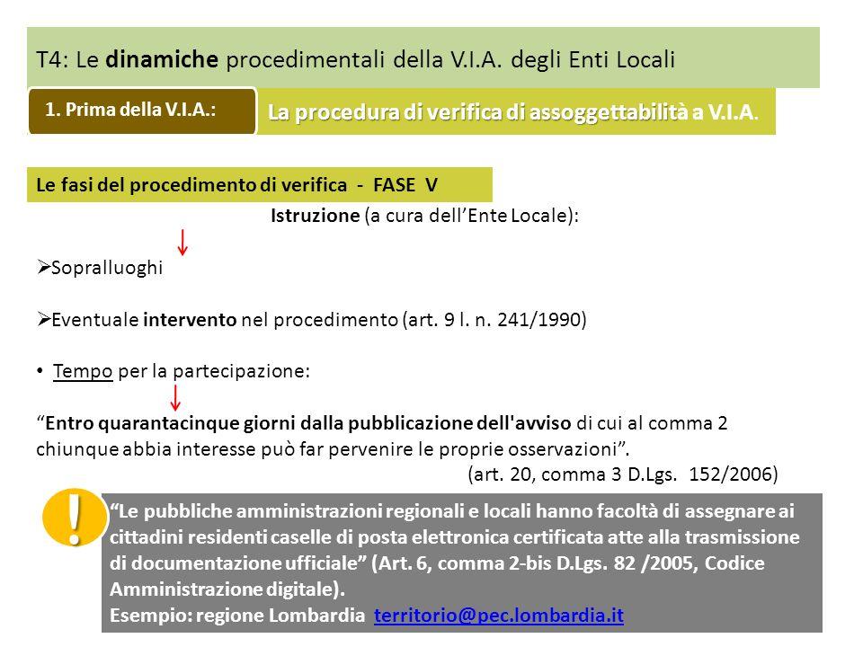 T4: Le dinamiche procedimentali della V.I.A. degli Enti Locali Le fasi del procedimento di verifica - FASE V Istruzione (a cura dellEnte Locale): Sopr