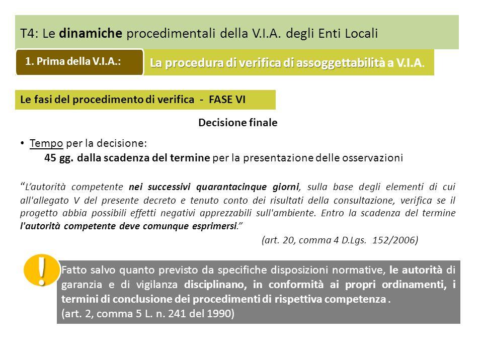 T4: Le dinamiche procedimentali della V.I.A. degli Enti Locali Le fasi del procedimento di verifica - FASE VI Decisione finale Tempo per la decisione: