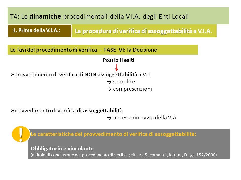 T4: Le dinamiche procedimentali della V.I.A. degli Enti Locali Le fasi del procedimento di verifica - FASE VI: la Decisione Possibili esiti provvedime