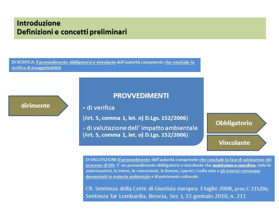 PROVVEDIMENTI - di verifica (Art. 5, comma 1, let. n) D.Lgs. 152/2006) - di valutazione dell impatto ambientale (Art. 5, comma 1, let. o) D.Lgs. 152/2