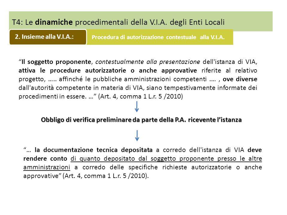 T4: Le dinamiche procedimentali della V.I.A. degli Enti Locali Il soggetto proponente, contestualmente alla presentazione dell'istanza di VIA, attiva