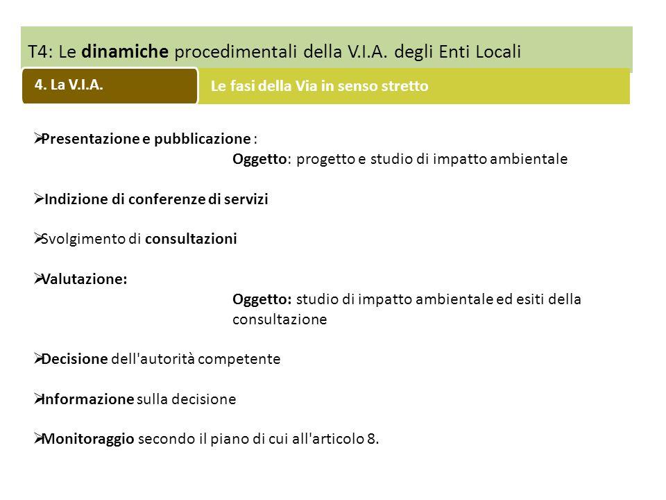 T4: Le dinamiche procedimentali della V.I.A. degli Enti Locali Le fasi della Via in senso stretto Presentazione e pubblicazione : Oggetto: progetto e