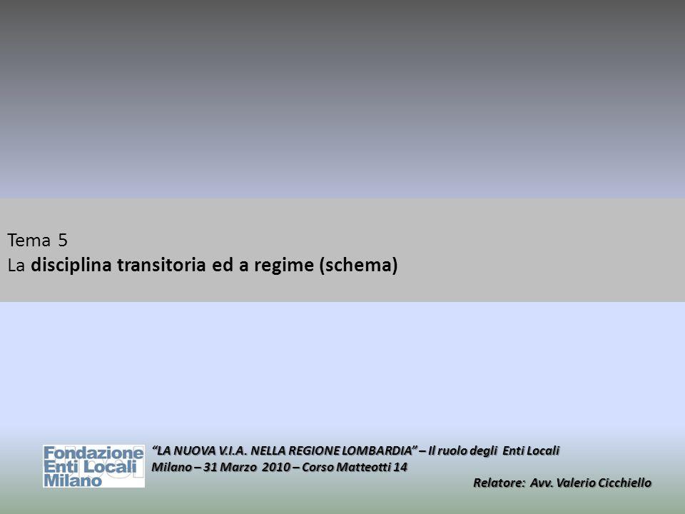 Tema 5 La disciplina transitoria ed a regime (schema) LA NUOVA V.I.A. NELLA REGIONE LOMBARDIA – Il ruolo degli Enti Locali Milano – 31 Marzo 2010 – Co