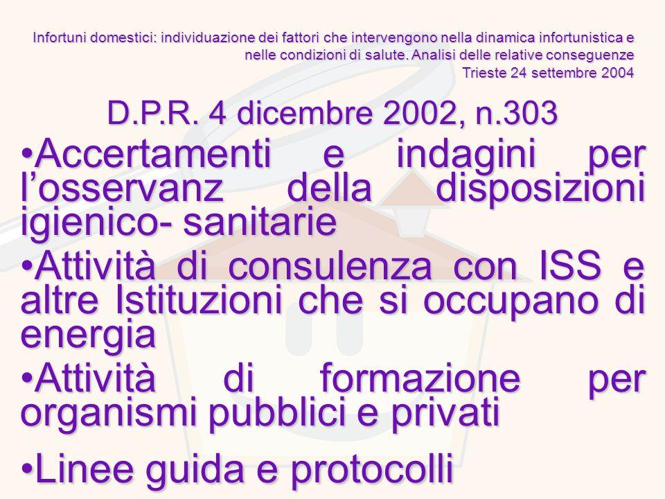 D.P.R. 4 dicembre 2002, n.303 Accertamenti e indagini per losservanz della disposizioni igienico- sanitarieAccertamenti e indagini per losservanz dell