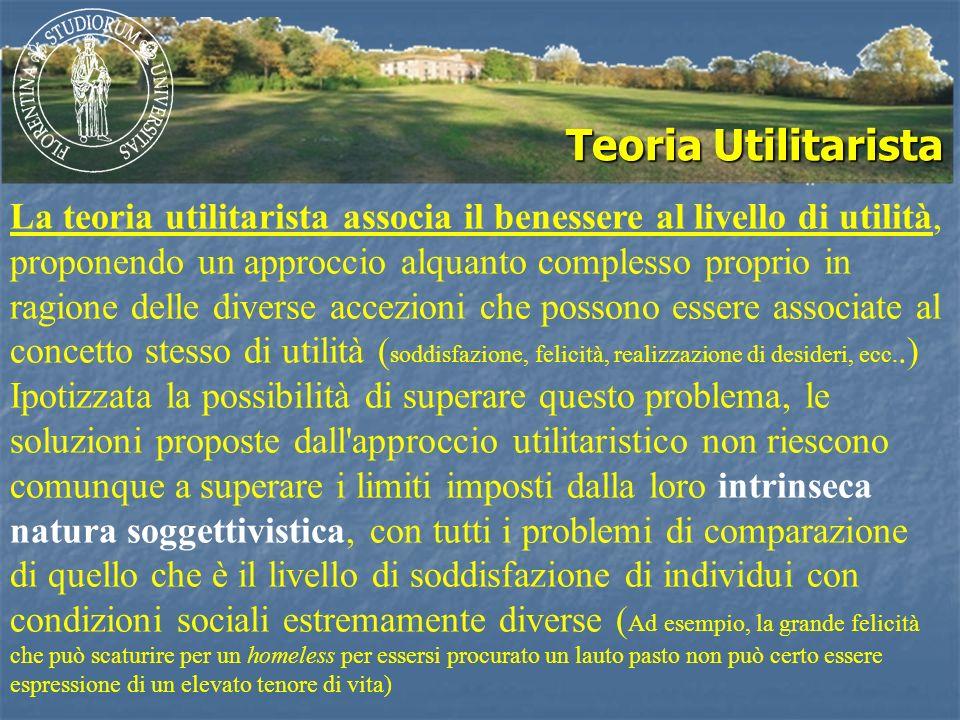 Teoria Utilitarista La teoria utilitarista associa il benessere al livello di utilità, proponendo un approccio alquanto complesso proprio in ragione d