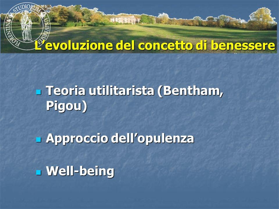Levoluzione del concetto di benessere Teoria utilitarista (Bentham, Pigou) Teoria utilitarista (Bentham, Pigou) Approccio dellopulenza Approccio dello