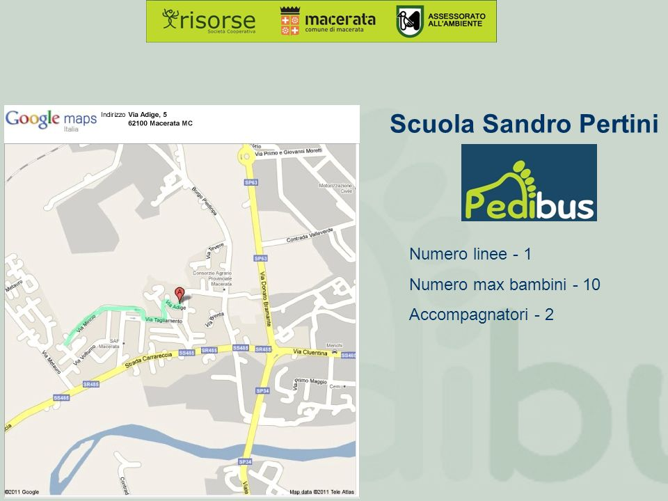 Scuola Sandro Pertini Numero linee - 1 Numero max bambini - 10 Accompagnatori - 2