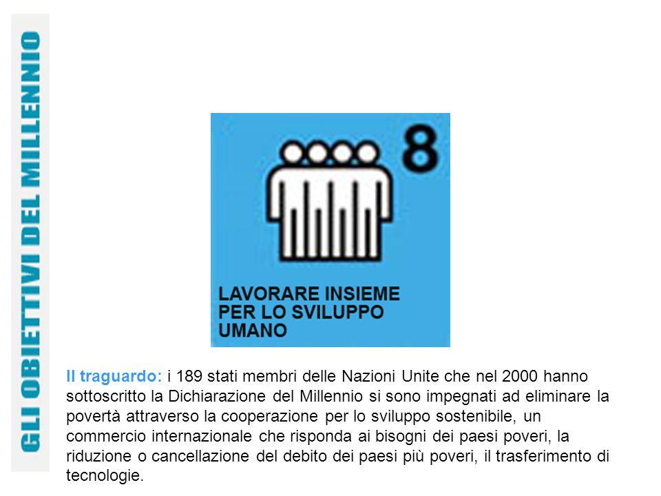 Il traguardo: i 189 stati membri delle Nazioni Unite che nel 2000 hanno sottoscritto la Dichiarazione del Millennio si sono impegnati ad eliminare la povertà attraverso la cooperazione per lo sviluppo sostenibile, un commercio internazionale che risponda ai bisogni dei paesi poveri, la riduzione o cancellazione del debito dei paesi più poveri, il trasferimento di tecnologie.