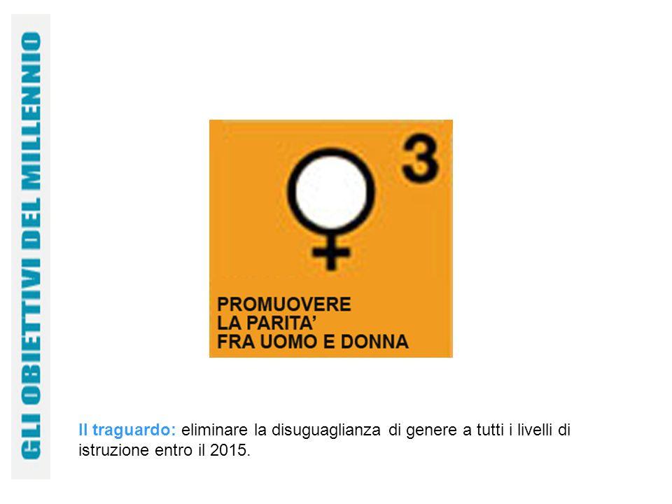 Il traguardo: eliminare la disuguaglianza di genere a tutti i livelli di istruzione entro il 2015.