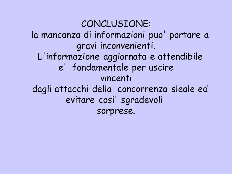 CONCLUSIONE: la mancanza di informazioni puo' portare a gravi inconvenienti. L'informazione aggiornata e attendibile e' fondamentale per uscire vincen