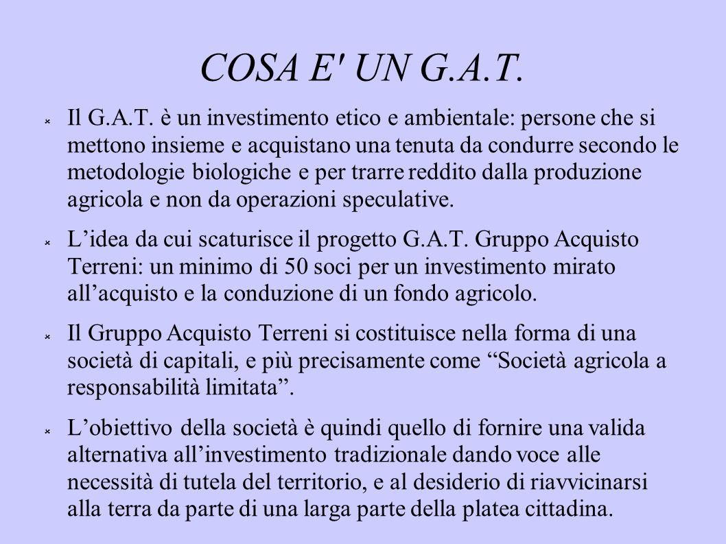 COSA E' UN G.A.T. Il G.A.T. è un investimento etico e ambientale: persone che si mettono insieme e acquistano una tenuta da condurre secondo le metodo