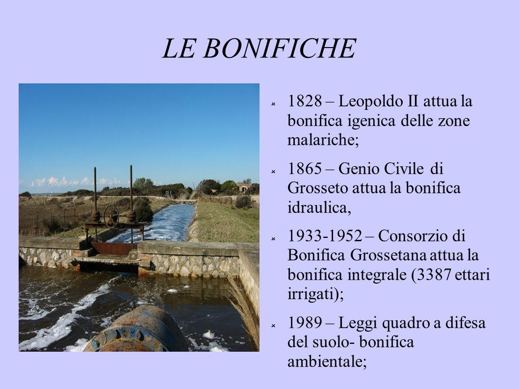 LE BONIFICHE 1828 – Leopoldo II attua la bonifica igenica delle zone malariche; 1865 – Genio Civile di Grosseto attua la bonifica idraulica, 1933-1952