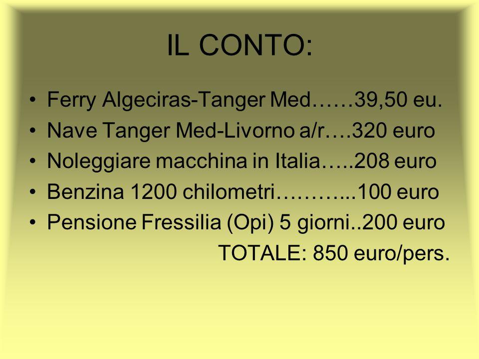 IL CONTO: Ferry Algeciras-Tanger Med……39,50 eu. Nave Tanger Med-Livorno a/r….320 euro Noleggiare macchina in Italia…..208 euro Benzina 1200 chilometri