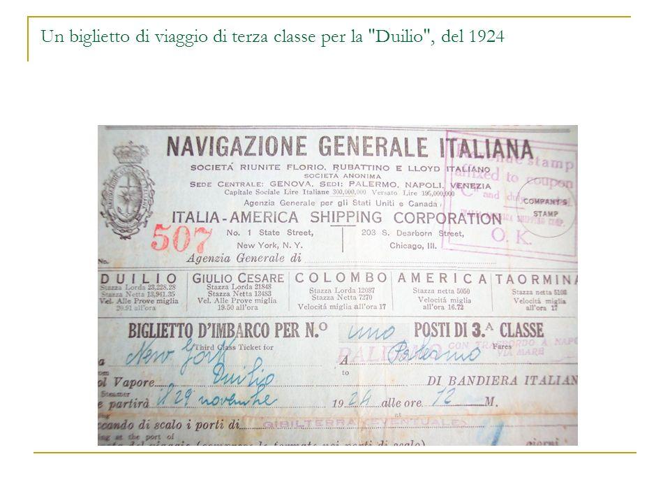 Un biglietto di viaggio di terza classe per la Duilio , del 1924