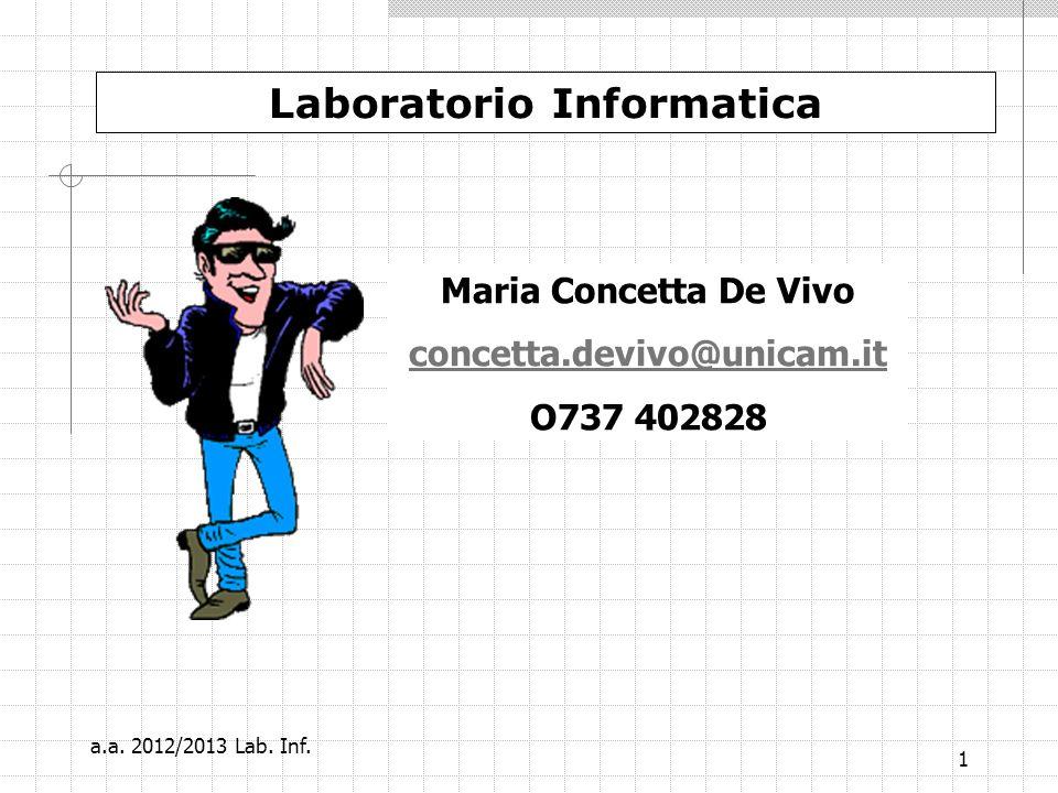 2 Il Word Laboratorio Informatica a.a. 2012/2013 Lab. Inf.
