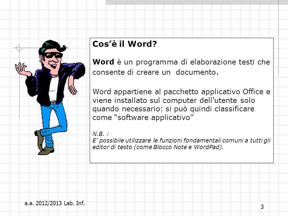 4 Cosè un software applicativo? … parentesi … a.a. 2012/2013 Lab. Inf.
