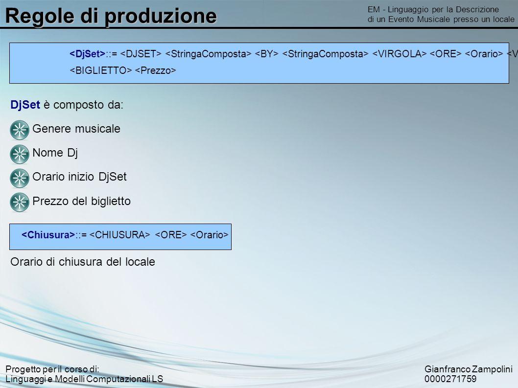Gianfranco Zampolini 0000271759 Progetto per il corso di: Linguaggi e Modelli Computazionali LS Regole di produzione EM - Linguaggio per la Descrizion