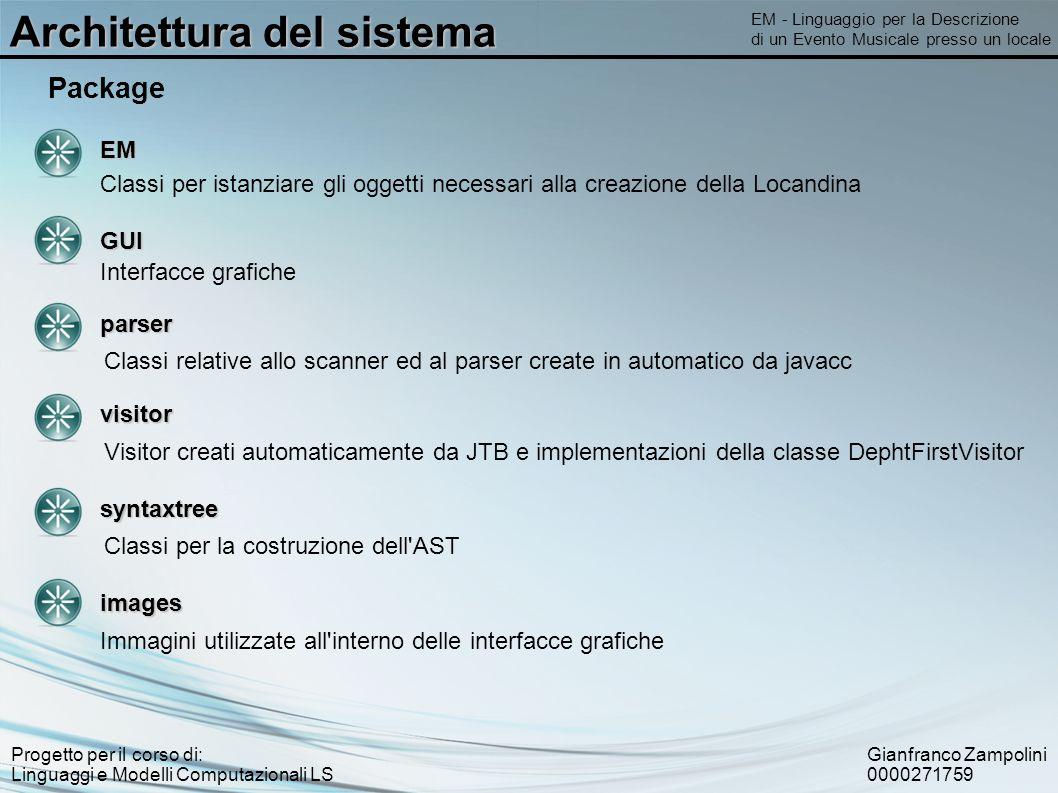 Gianfranco Zampolini 0000271759 Progetto per il corso di: Linguaggi e Modelli Computazionali LS Architettura del sistema EM - Linguaggio per la Descri