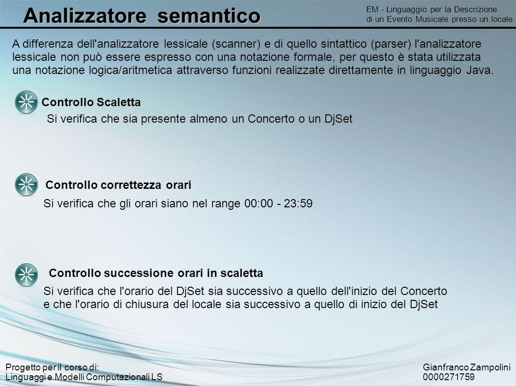 Gianfranco Zampolini 0000271759 Progetto per il corso di: Linguaggi e Modelli Computazionali LS Analizzatore semantico EM - Linguaggio per la Descrizi