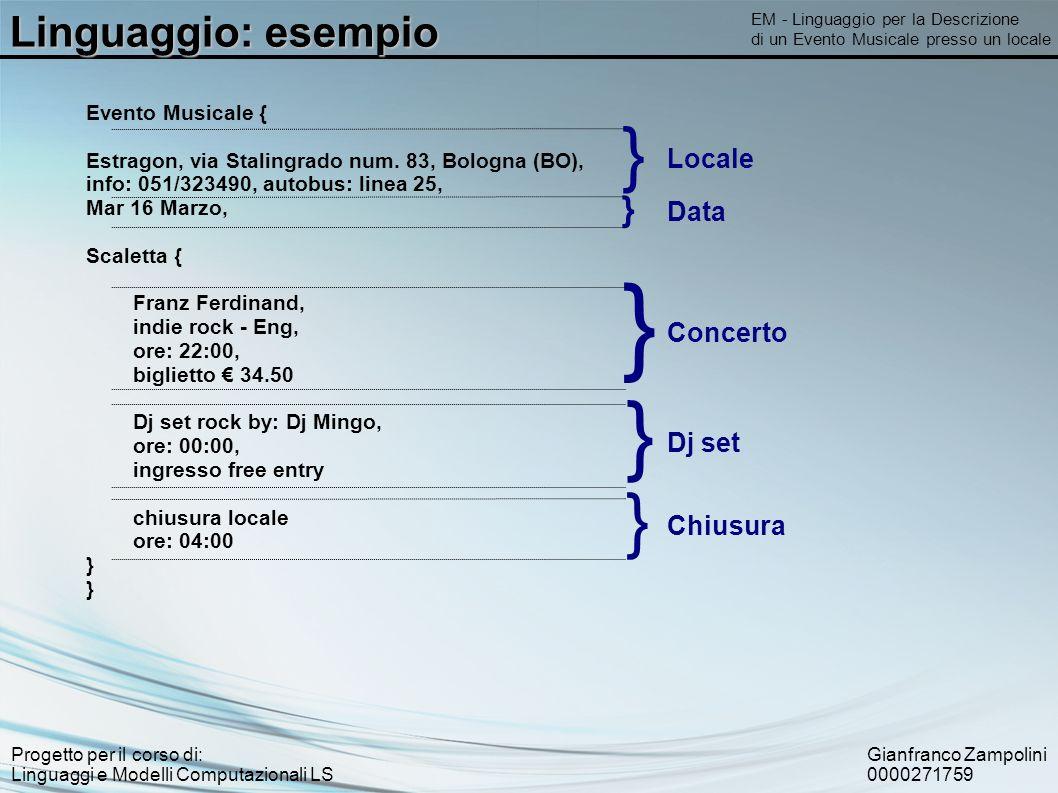 Gianfranco Zampolini 0000271759 Progetto per il corso di: Linguaggi e Modelli Computazionali LS Linguaggio: esempio EM - Linguaggio per la Descrizione