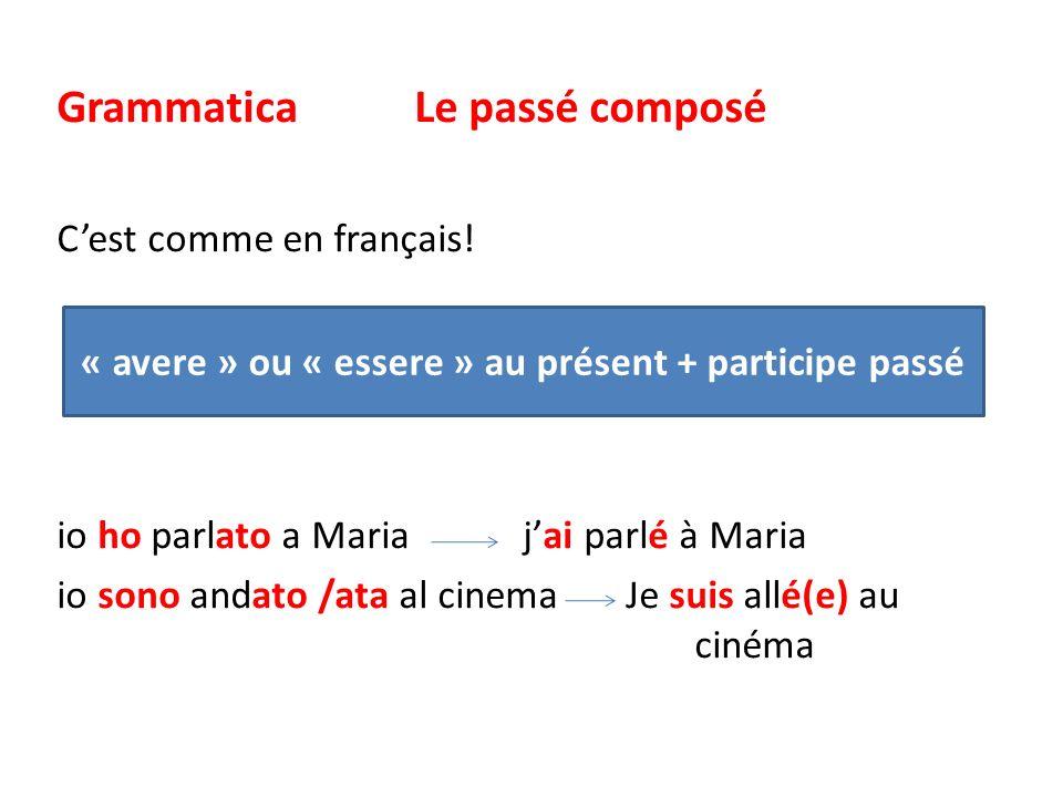 Grammatica Le passé composé Cest comme en français! io ho parlato a Maria jai parlé à Maria io sono andato /ata al cinema Je suis allé(e) au cinéma «