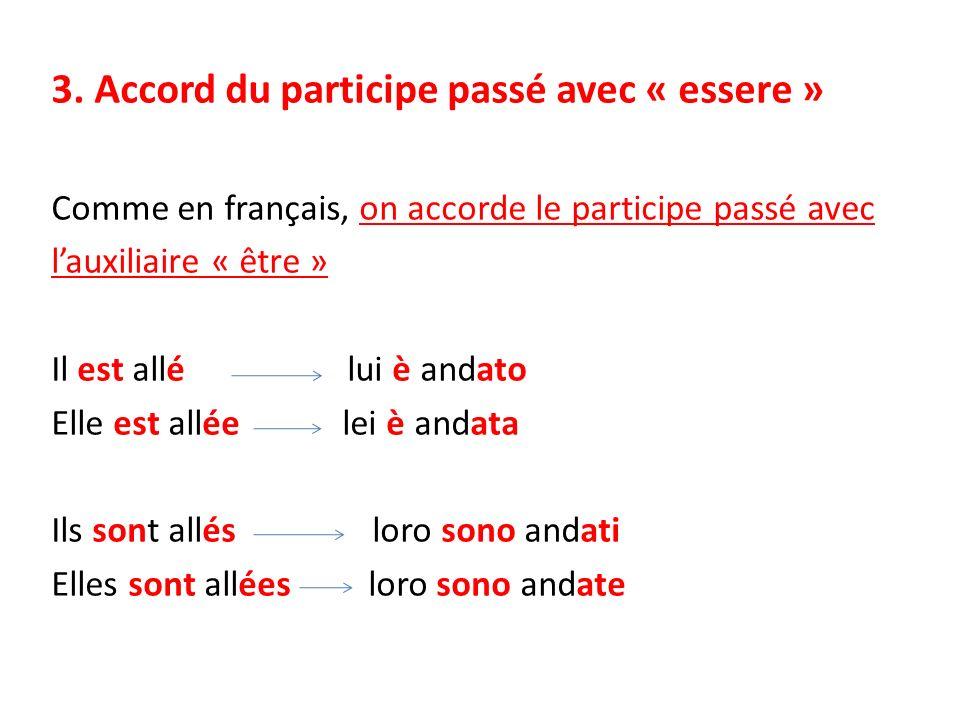3. Accord du participe passé avec « essere » Comme en français, on accorde le participe passé avec lauxiliaire « être » Il est allé lui è andato Elle