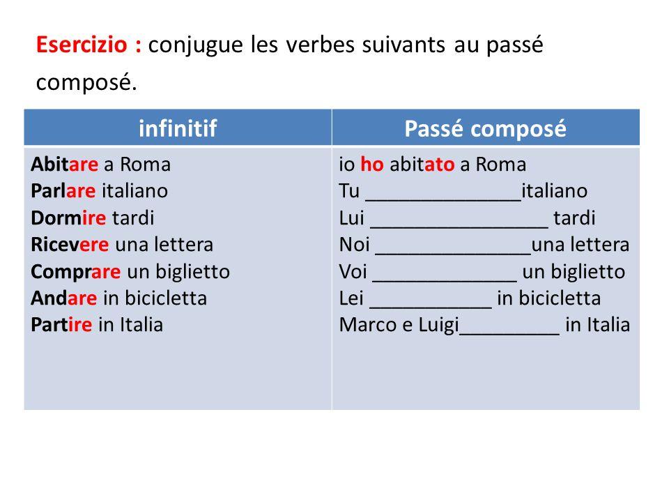 Esercizio : conjugue les verbes suivants au passé composé. infinitifPassé composé Abitare a Roma Parlare italiano Dormire tardi Ricevere una lettera C
