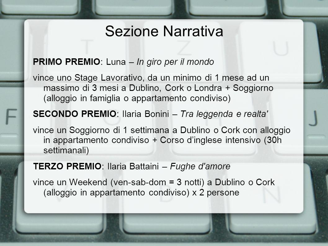 Sezione Narrativa PRIMO PREMIO: Luna – In giro per il mondo vince uno Stage Lavorativo, da un minimo di 1 mese ad un massimo di 3 mesi a Dublino, Cork