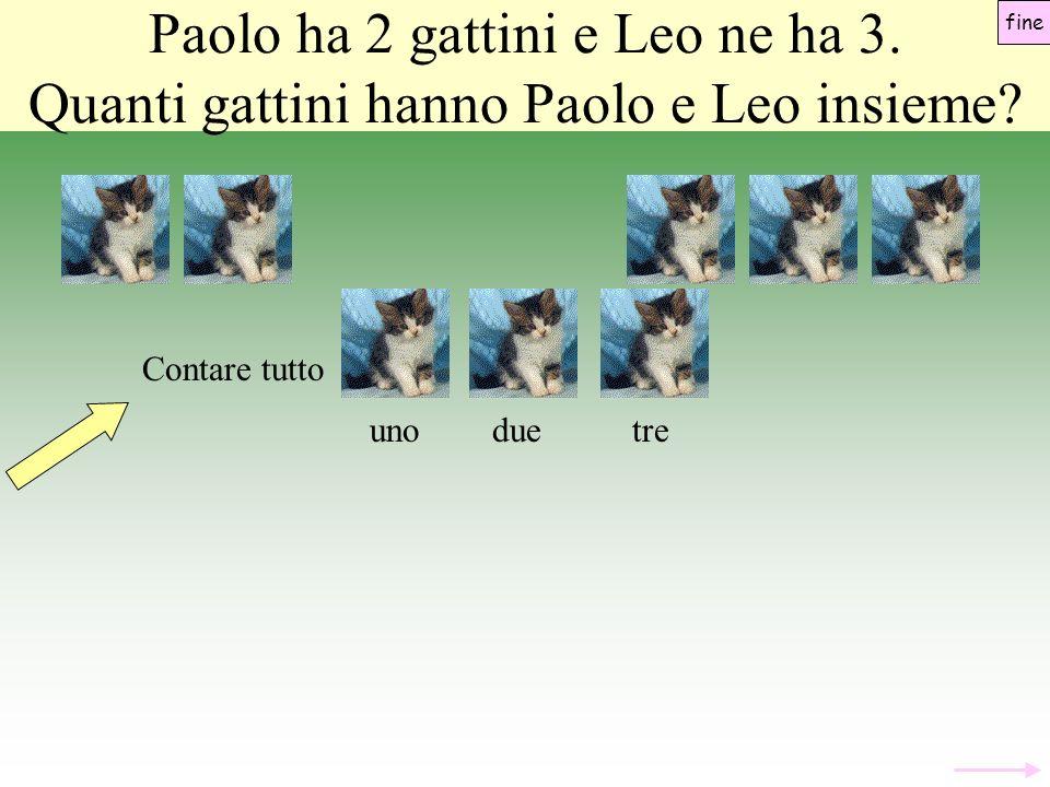 unoduetre Paolo ha 2 gattini e Leo ne ha 3.Quanti gattini hanno Paolo e Leo insieme.
