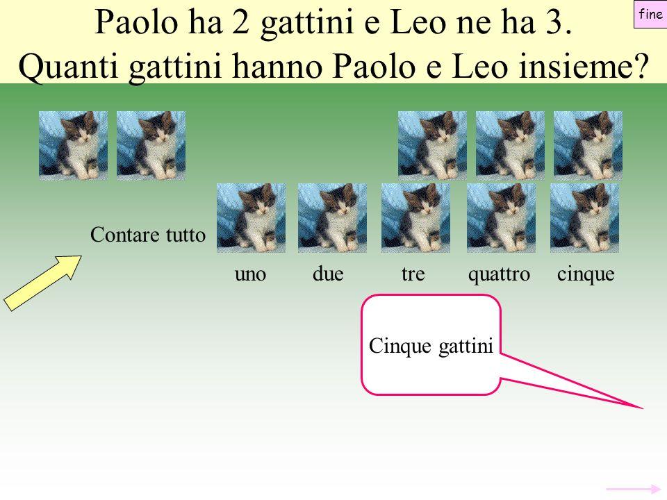 unoduecinquequattrotre Paolo ha 2 gattini e Leo ne ha 3.