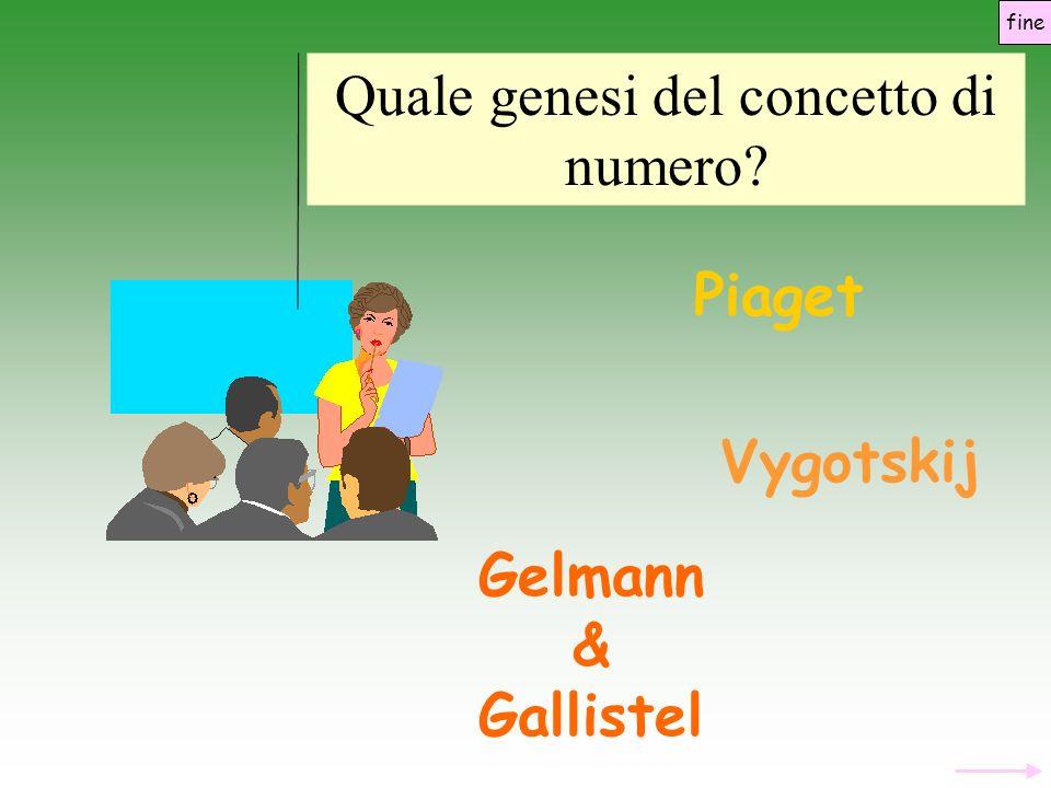 Piaget Vygotskij Gelmann & Gallistel Quale genesi del concetto di numero? fine