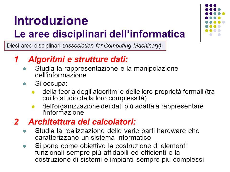 1Algoritmi e strutture dati: Studia la rappresentazione e la manipolazione dell'informazione Si occupa: della teoria degli algoritmi e delle loro prop