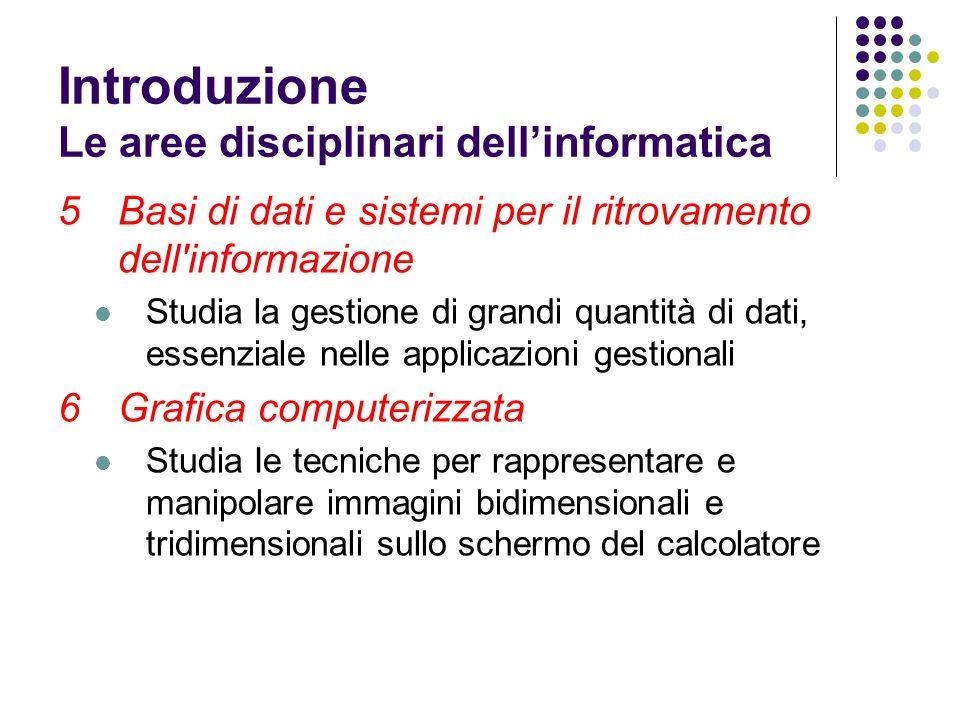 5Basi di dati e sistemi per il ritrovamento dell'informazione Studia la gestione di grandi quantità di dati, essenziale nelle applicazioni gestionali