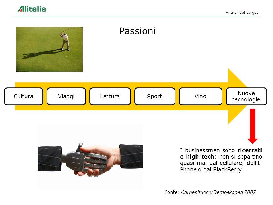Passioni Analisi del target Fonte: Carnealfuoco/Demoskopea 2007 I businessmen sono ricercati e high-tech: non si separano quasi mai dal cellulare, dal