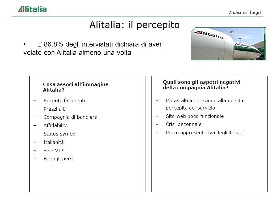 –Prezzi alti in relazione alla qualit à percepita del servizio –Sito web poco funzionale –Crisi decennale –Poco rappresentativa degli italiani Analisi