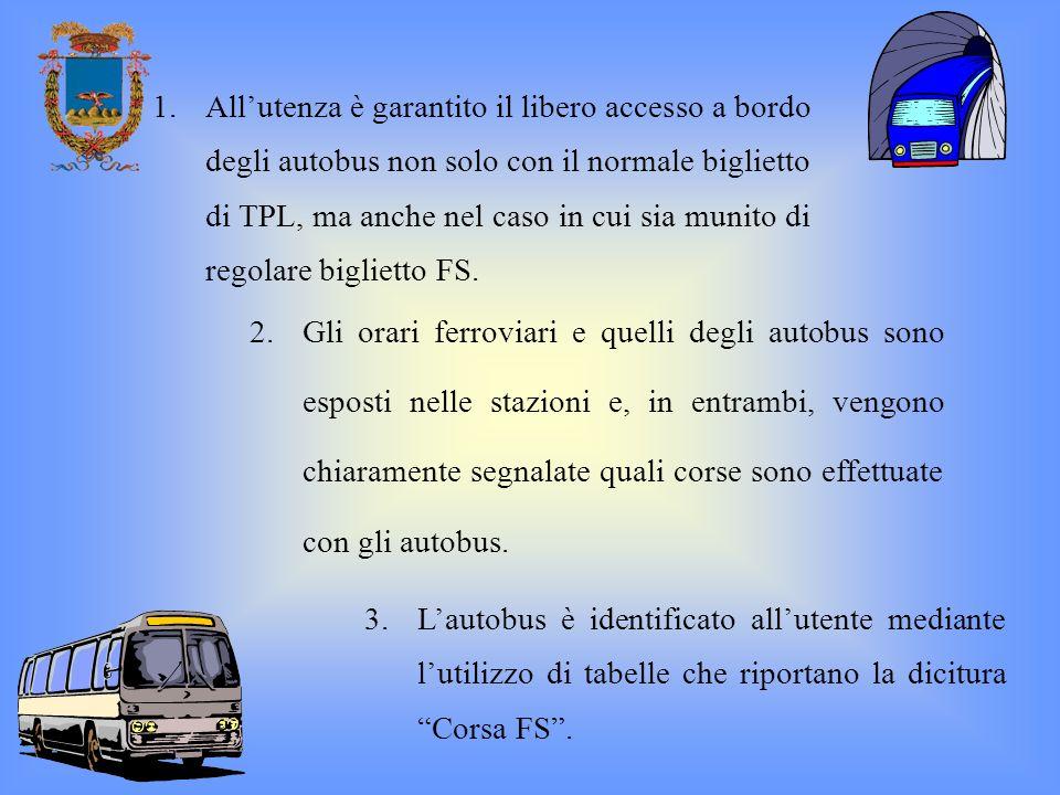 3.Lautobus è identificato allutente mediante lutilizzo di tabelle che riportano la dicitura Corsa FS. 1.Allutenza è garantito il libero accesso a bord