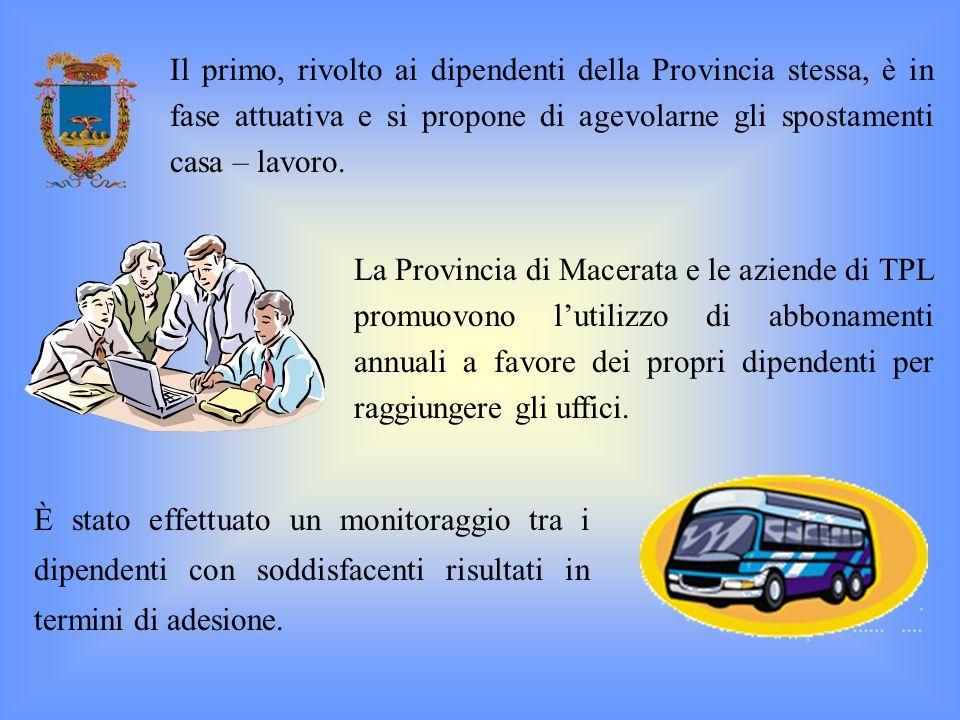 La Provincia di Macerata e le aziende di TPL promuovono lutilizzo di abbonamenti annuali a favore dei propri dipendenti per raggiungere gli uffici. Il