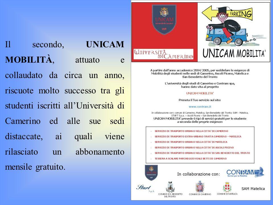 Il secondo, UNICAM MOBILITÀ, attuato e collaudato da circa un anno, riscuote molto successo tra gli studenti iscritti allUniversità di Camerino ed all