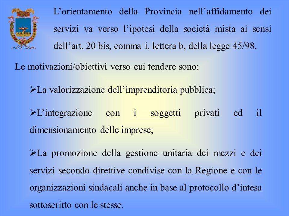 Le motivazioni/obiettivi verso cui tendere sono: La valorizzazione dellimprenditoria pubblica; Lintegrazione con i soggetti privati ed il dimensioname