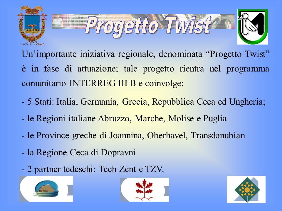 Unimportante iniziativa regionale, denominata Progetto Twist è in fase di attuazione; tale progetto rientra nel programma comunitario INTERREG III B e