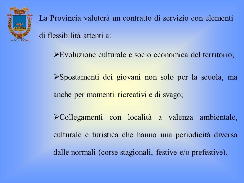 Evoluzione culturale e socio economica del territorio; Spostamenti dei giovani non solo per la scuola, ma anche per momenti ricreativi e di svago; Col