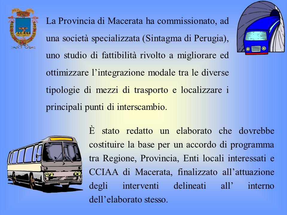 La Provincia di Macerata ha commissionato, ad una società specializzata (Sintagma di Perugia), uno studio di fattibilità rivolto a migliorare ed ottim