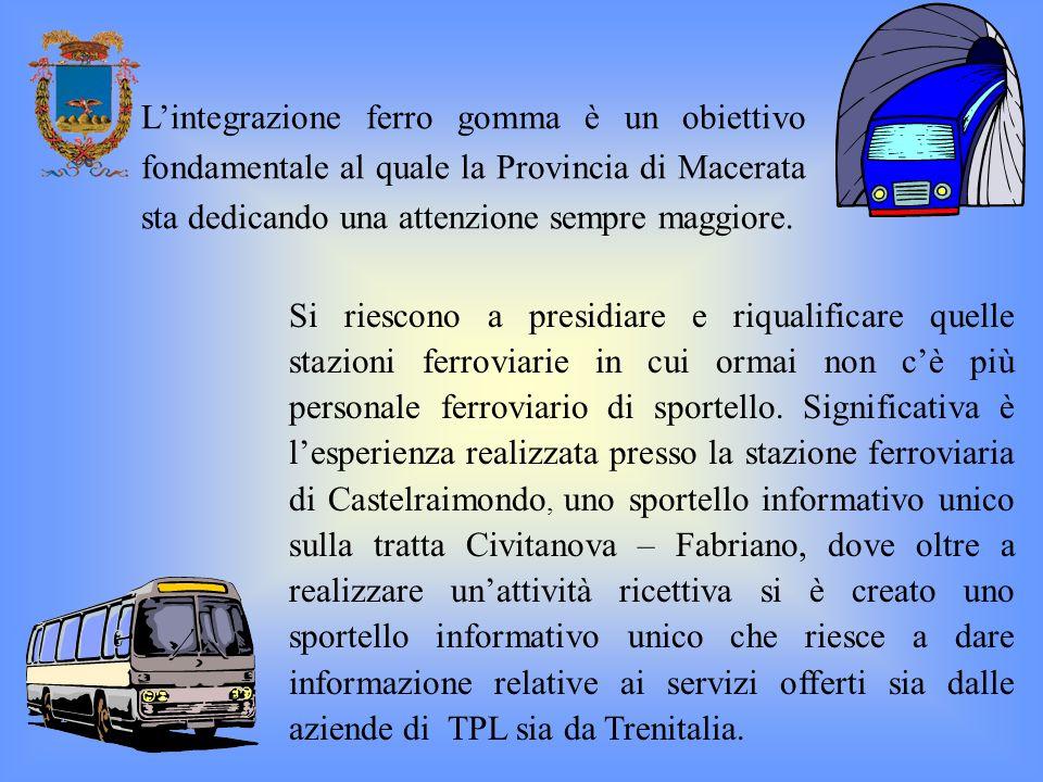 Lintegrazione ferro gomma è un obiettivo fondamentale al quale la Provincia di Macerata sta dedicando una attenzione sempre maggiore. Si riescono a pr